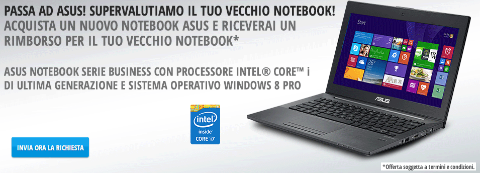 Asus offre fino a 200 euro a chi compra un notebook nuovo