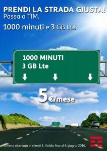 Passa a TIM! 1000 Minuti e 3Gb a 5€ al mese!