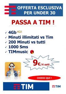 OFFERTA per under 30 – minuti illimitati e 4Gb 9€