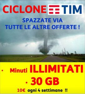 Ciclone TIM: Min. Illimitati e 30Gb a 10€