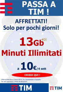 13Gb in 4G/LTE e Minuti Illimitati a 10€/4sett.