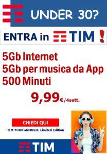 Under 30? 5Gb per internet, 5G per musica, 500 Minuti a 9,99€