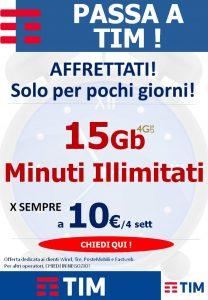 TIM 15Gb e Minuti Illimitati a 10€ per sempre
