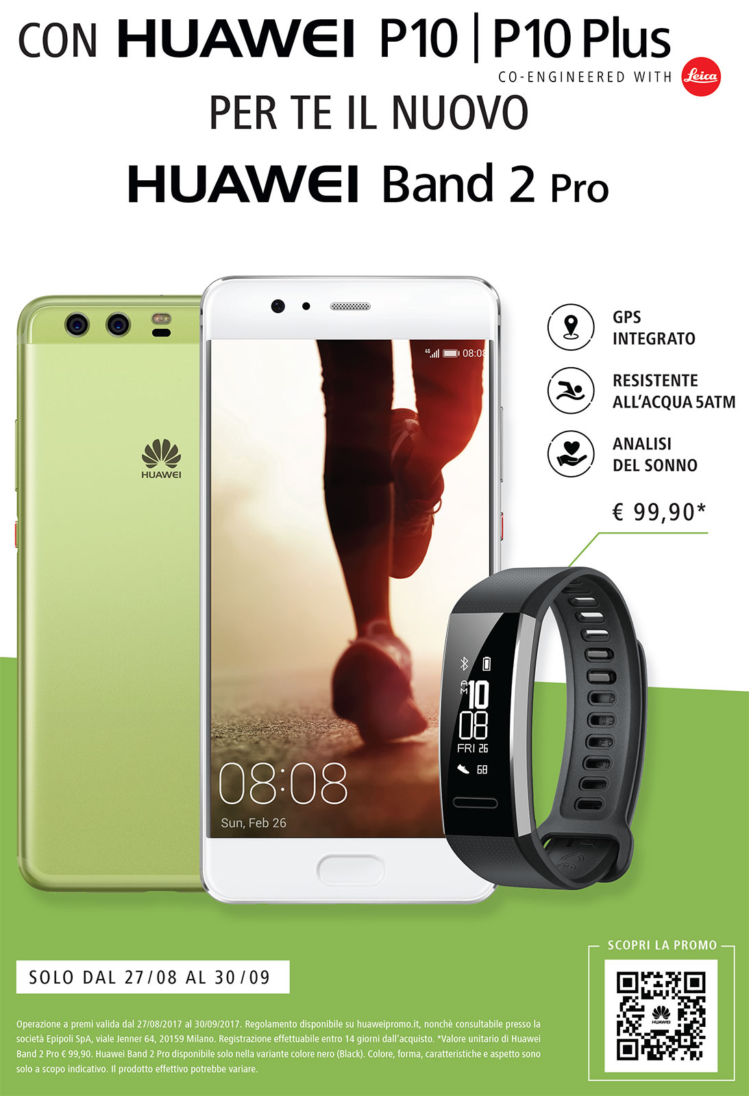 In regalo Band 2 Pro con Huawei P10 e P10+